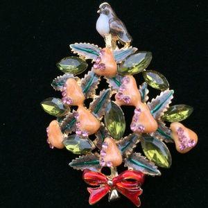 12 DAYS CHRISTMAS TREE PARTRIDGE PEAR PIN BROOCH